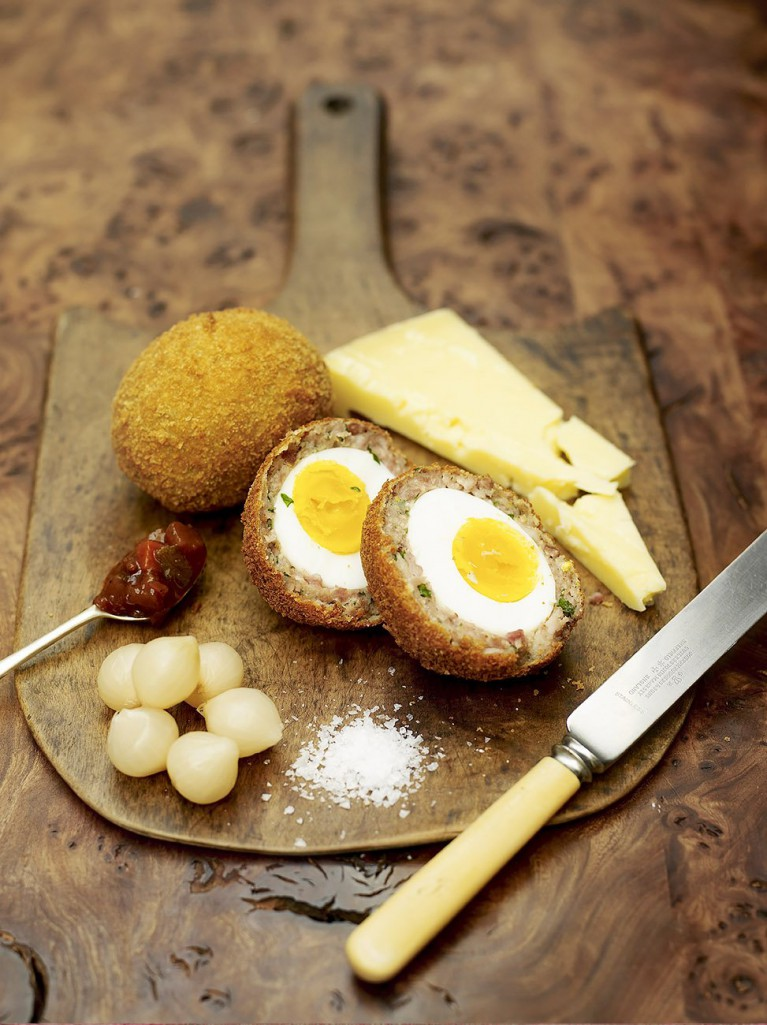 Proper Scotch eggs with lovely Scottish cheese and pickle