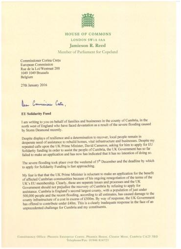 Letter to Commissioner Cretu Page 1