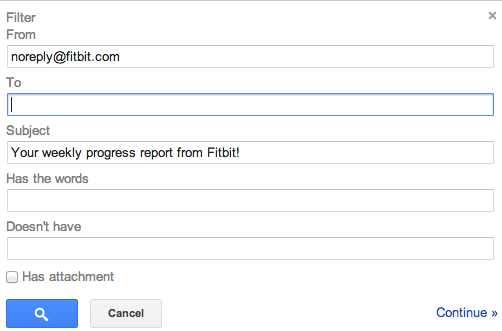 Gmail Filter, Step 1