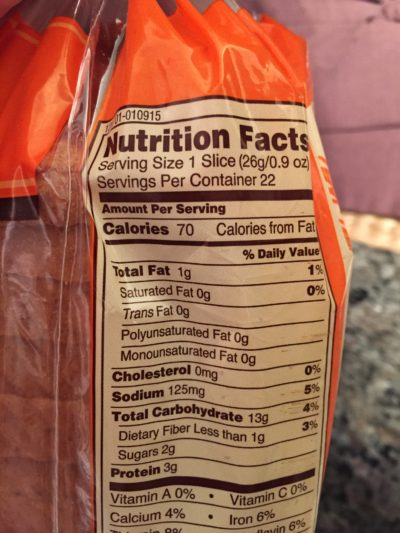 Serving size of bread