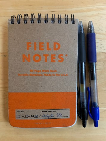"""My current Field Notes """"Heavy Duty"""" notebook."""