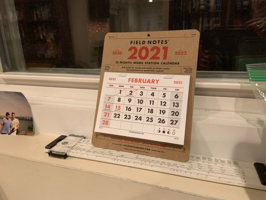 My 2021 Field Notes work station calendar