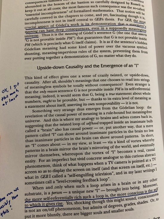 An annotated page from my copy of Gödel, Escher, Bach