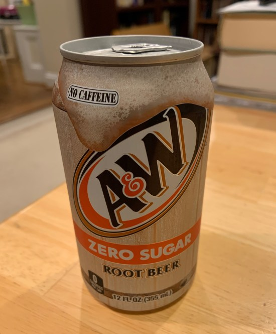 A can of A&W Zero Sugar Root Beer