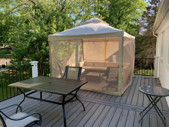 The repaired deck tent