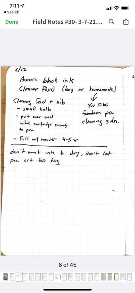 scanned notebook page in evernote