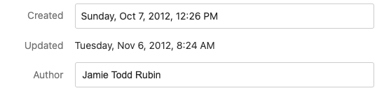 An example of Evernote note information showing the created and updated date fields.