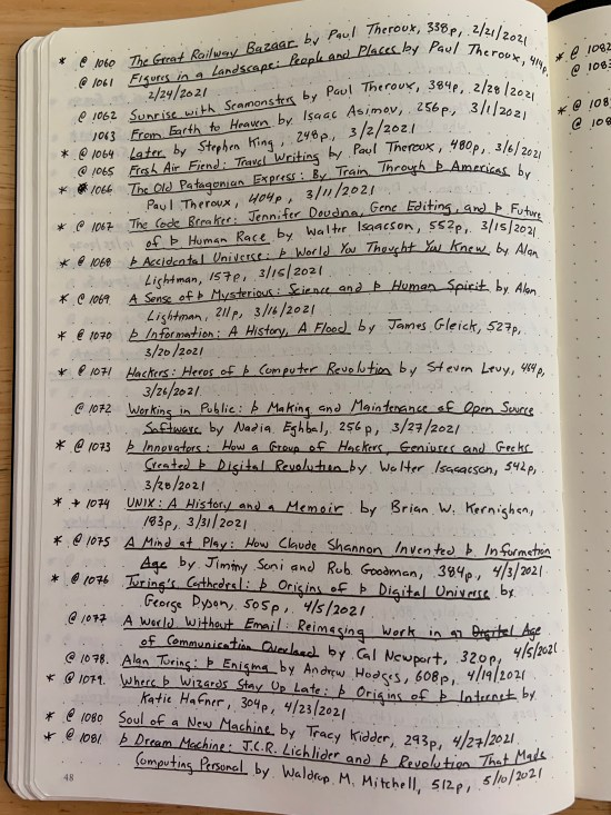 a recent page from my master reading list notebook