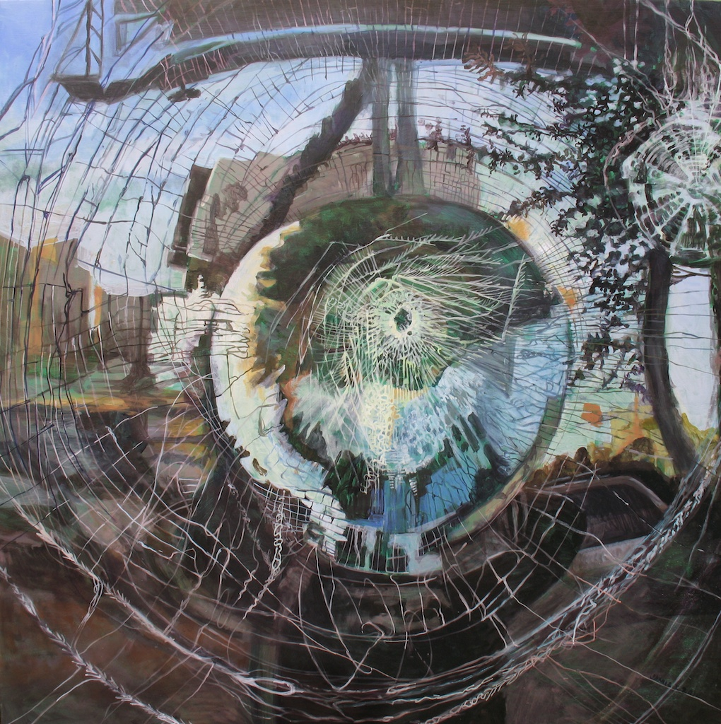 "Injury Web 2, acrylic on panel, 48"" x 48"""