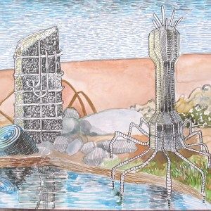 """Curiosities in the Multiverse 12 of 21; pen, watercolor and brush-tip marker on paper; 9"""" x 12"""" 