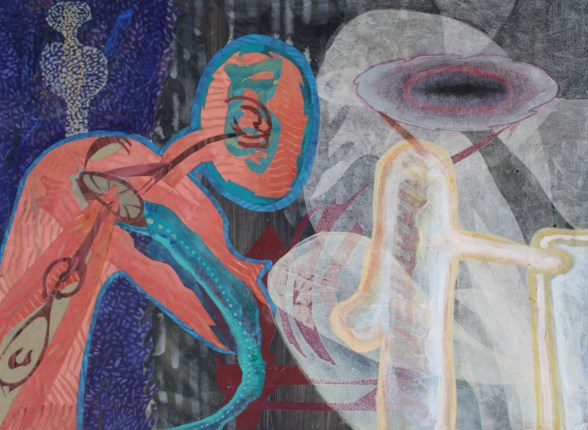 """acrylic, brush-tip marker, cut paper and colored pencil on paper, 22"""" x 30"""" 