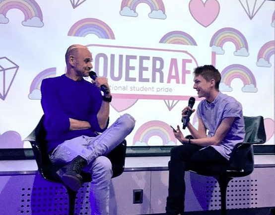 Evan Davis and Jamie Wareham at a live edition of the #QueerAF national student pride podcast
