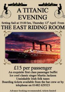 Flyer for The East Riding Room's Titanic Evening