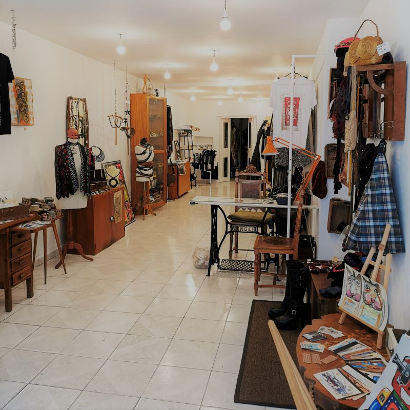 Inside the shop in Rua da Veronica 28 in Lisbon that sells fashion, second-hand, retro and vintage clothes, retro and vintage clothes rental, jewelry, crafts, art, art prints, artists exhibition.