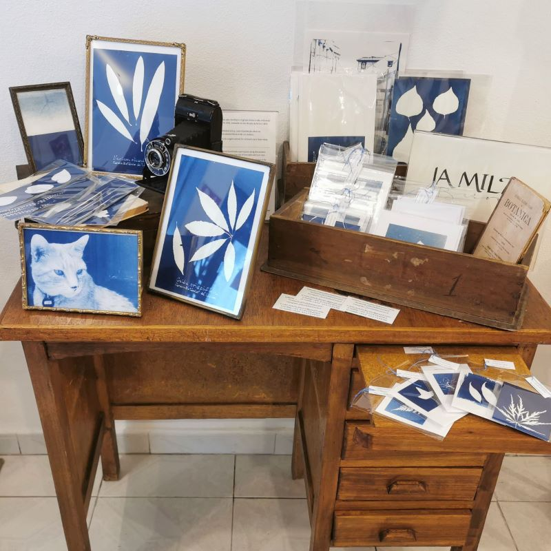 Cyanotypes by Jamila Baroni inside the shop in Rua da Veronica 28 in Lisbon that sells fashion, second-hand, retro and vintage clothes, retro and vintage clothes rental, jewelry, crafts, art, art prints, artists exhibition.