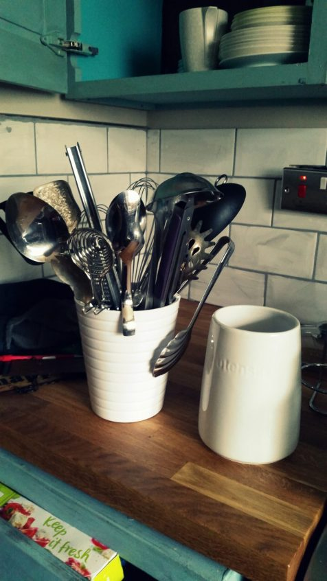 Metal Utensils jar before and after