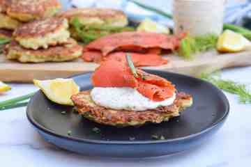 Irish boxty potato pancake with smoked salmon
