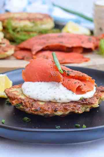Irish boxty potato pancake with smoked salmon
