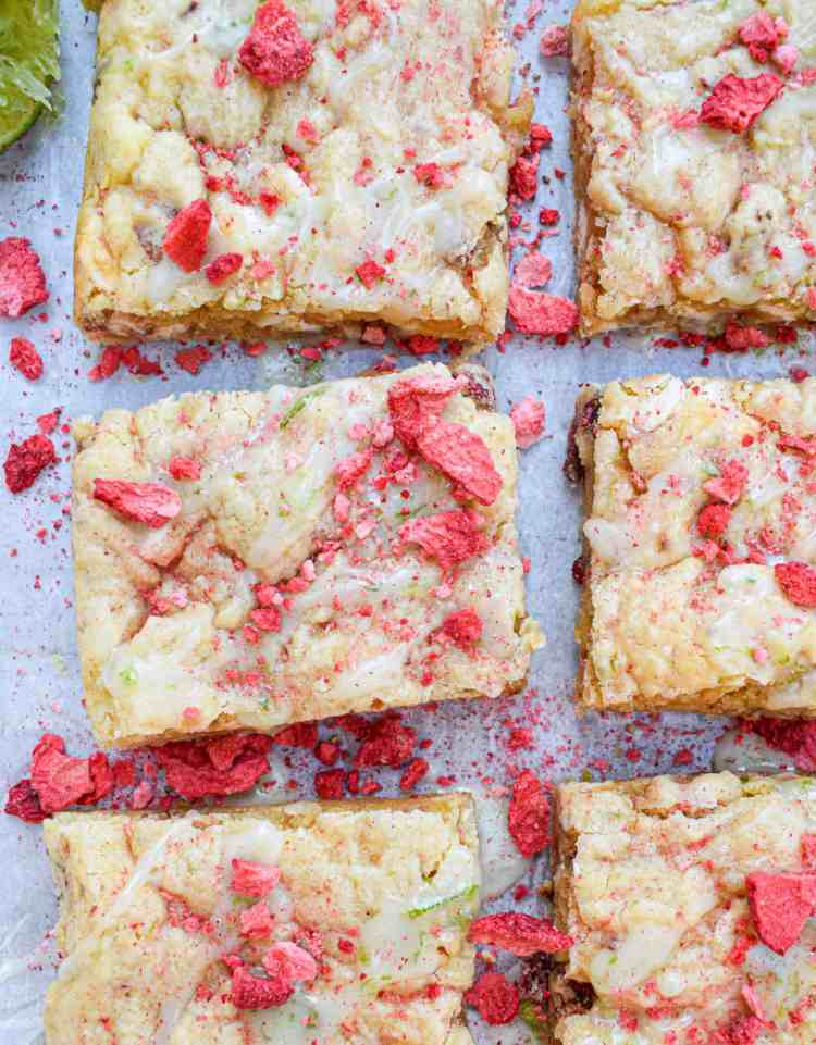 strawberry lime white chocolate blondies by The Jam Jar Kitchen