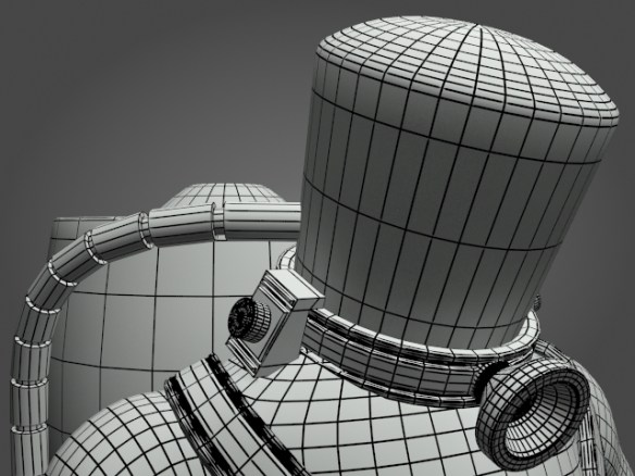 03_SpaceMonkey_wireFrame_headCloseup-Helmet