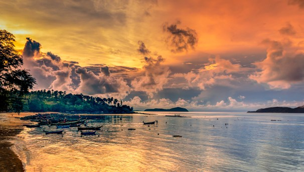 Dramatic sunrise over Rawai, Phuket