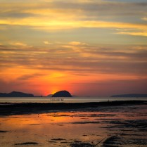 The morning Sun comes up over the Andaman islands