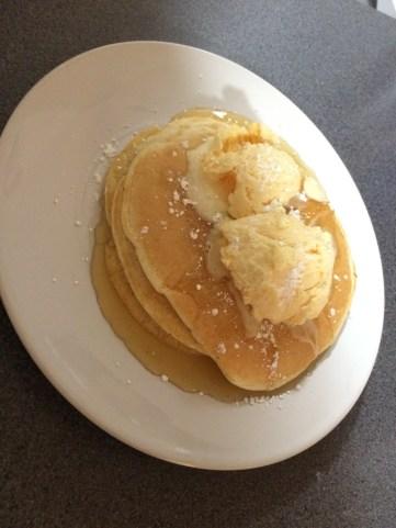 Plain American Pancakes with Honey and Vanilla Ice Cream