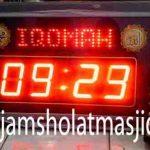 jam digital penunjukan waktu sholat warna kuning emas