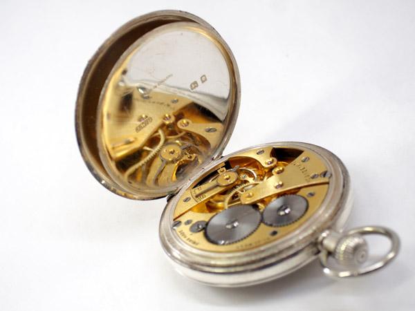 J.W.ベンソン 銀無垢 ハンターケース ポケットウォッチ アンティーク 懐中時計 シルバーチェーン付