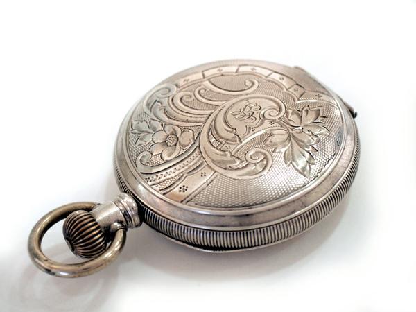 ハミルトン 銀無垢 レバーセット ハンターケース ポケットウォッチ アンティーク 懐中時計 出テンプ