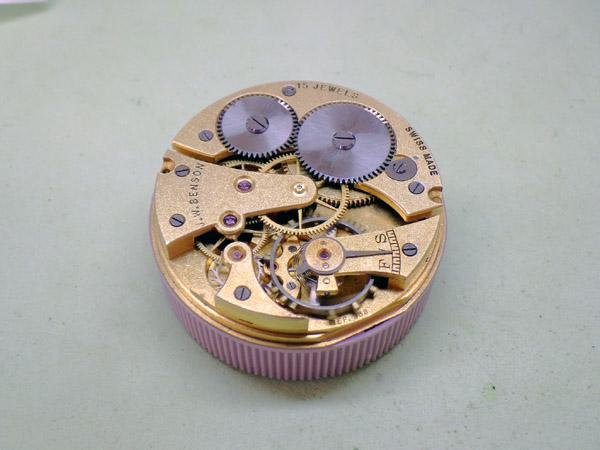 J.W.ベンソン 9K金無垢 ハンターケース ポーセリンダイヤル 懐中時計 ポケットウォッチ 元箱付き