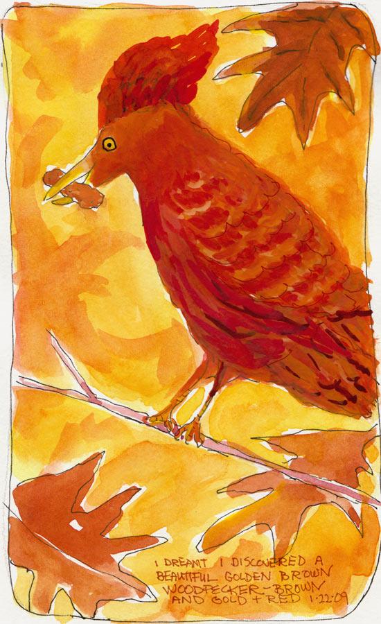 Woodpecker Dream, Gouache & Ink