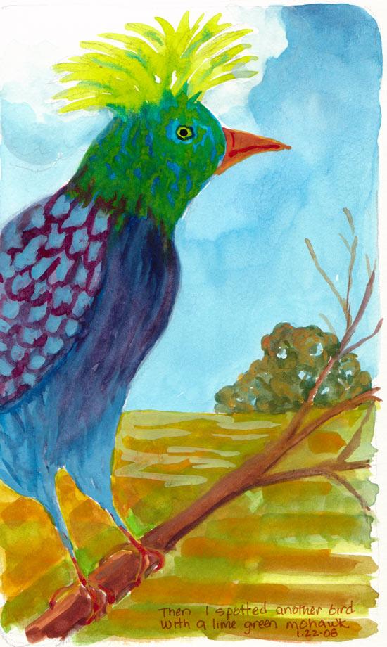 Lime Mohawk Bird, Goauche