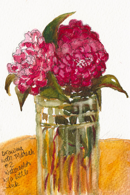 """Camelia #2, watercolor on paper, 6x4"""""""