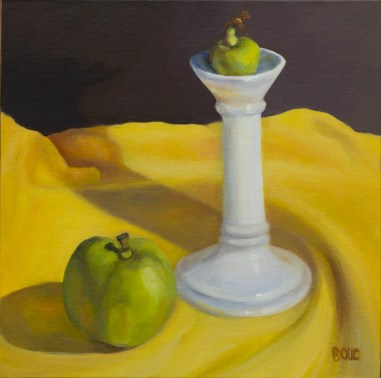 "Found on the Street #1, Candlestick and Apples, oil painting on panel, 8x8"" (Click image to enlarge)"