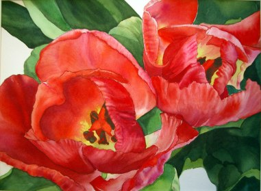 Birthday Tulips, Watercolor