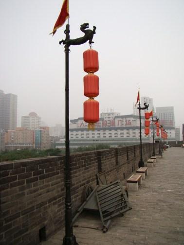 Lanterns strung up all along the wall