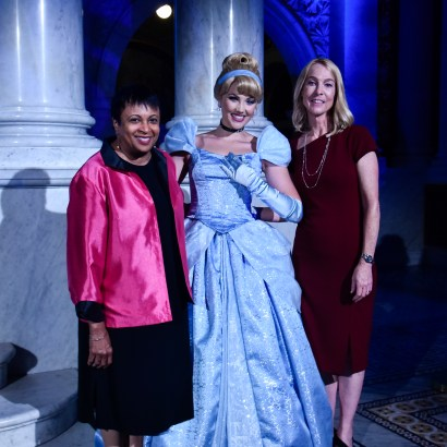 "WASHINGTON, DC - JUNE 20: (L-R) Librarian of Congress Dr. Carla Hayden, Cinderella, and Mary Walsh, Managing Director of the Disney Animation Research Library, attend Disney's ""Cinderella"" Library of Congress National Film Registry Ball at The Library of Congress on June 20, 2019 in Washington, DC. (Photo by Kris Connor/Getty Images for Disney)"