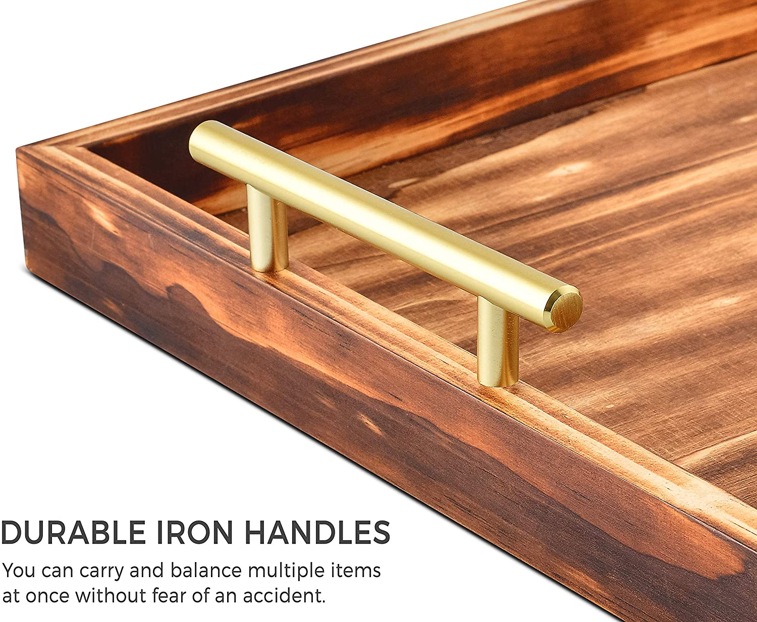jana decorative tray with golden handles 18 x 13 large wooden serving tray for ottoman coffee table wood tray coffee table tray perfect