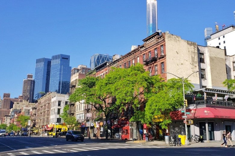 Hell's Kitchen in the foreground, the modern highrises of Midtown in the background