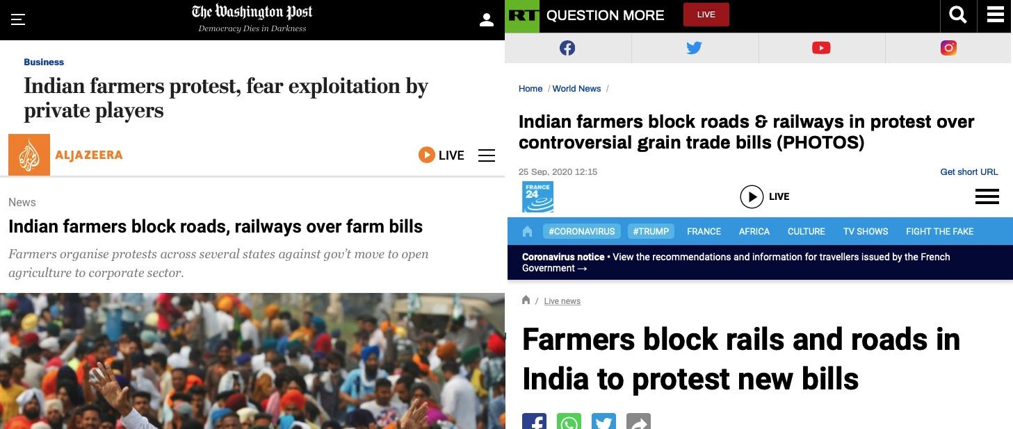विदेशी मीडिया में भारत बंद की खबरें।
