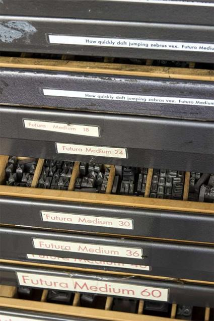 drawers full of metal type