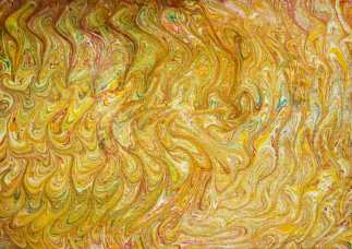 Marbled on drawing paper coated with alum