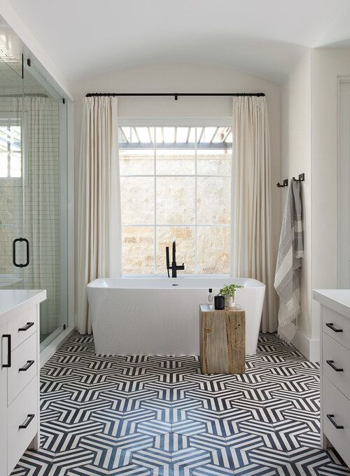 Gorgeous modern bathroom design with geometric black and white tile and free standing tub - Tribe Design #bath master bathroom guest bathroom home style