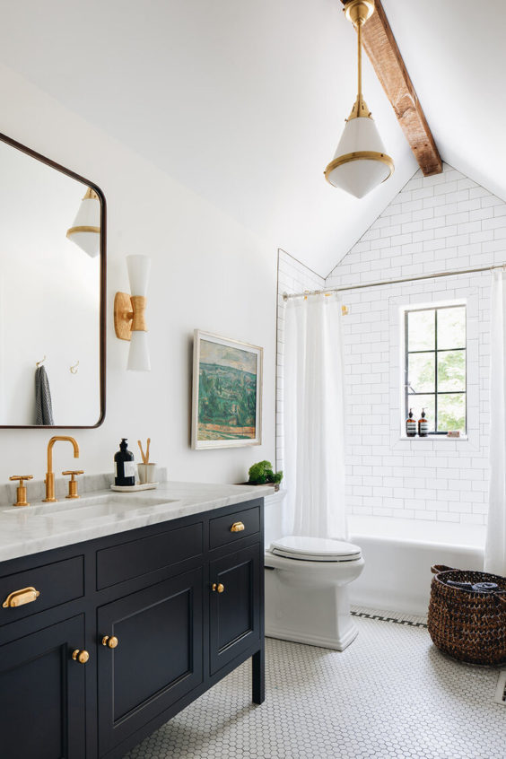 A beautiful mix of light and dark in this bathroom remodel from Jean Stoffer Design - Stoffer Interior Photography
