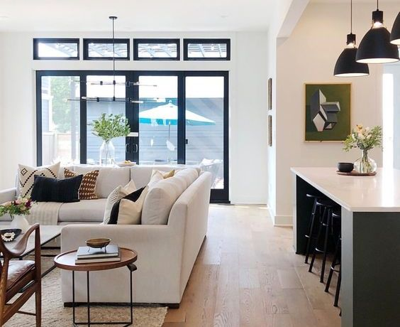 Gorgeous open floor plan living room and kitchen design
