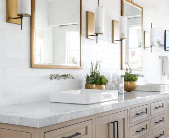 Beautiful bathroom with light wood vanity and mixed metal finishes - lindye galloway - bathroom decor - bathroom remodel