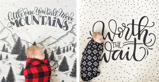 Hand-Lettered Baby Muslin Swaddles