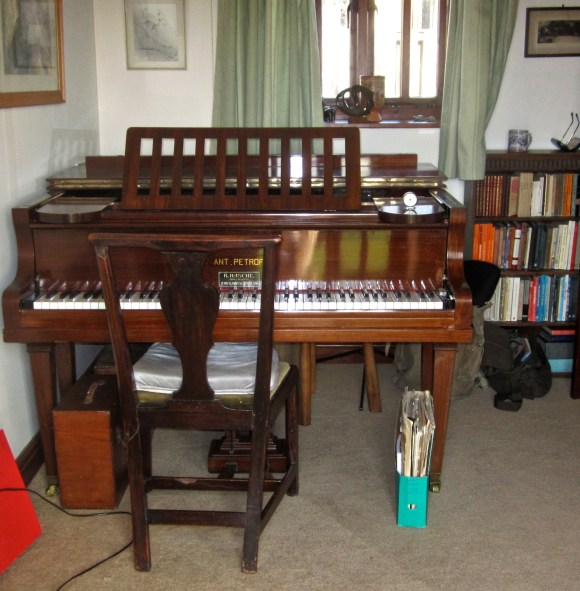 This is the piano my great-grandfather Basche made for his bride as a wedding present. It has a fine mellow voice, and a temperamental action, with the westcountry weather.