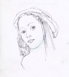 ... and so was this. She has rather a modern look about her, but I quite like it as a drawing. Perhaps the secret of Botticelli's Primavera is his beautiful distortion. Her right eye in his painting, is much lower than her left than anatomically possible. It gives that mystery to her expression.